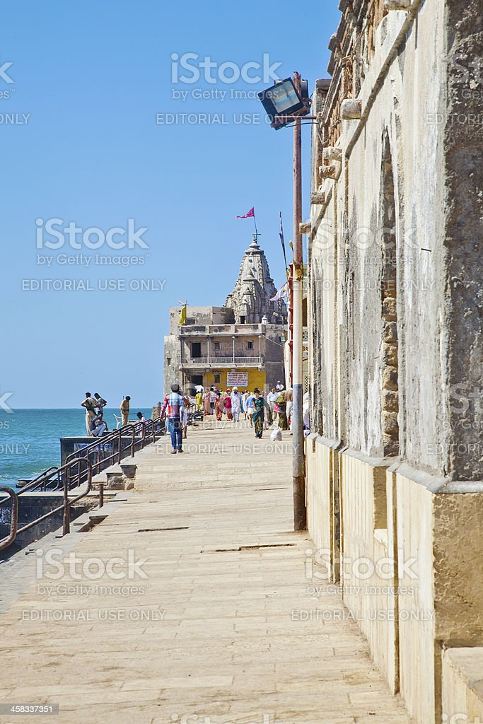 Krsna temple at the end of Promenade Dwarka stock photo
