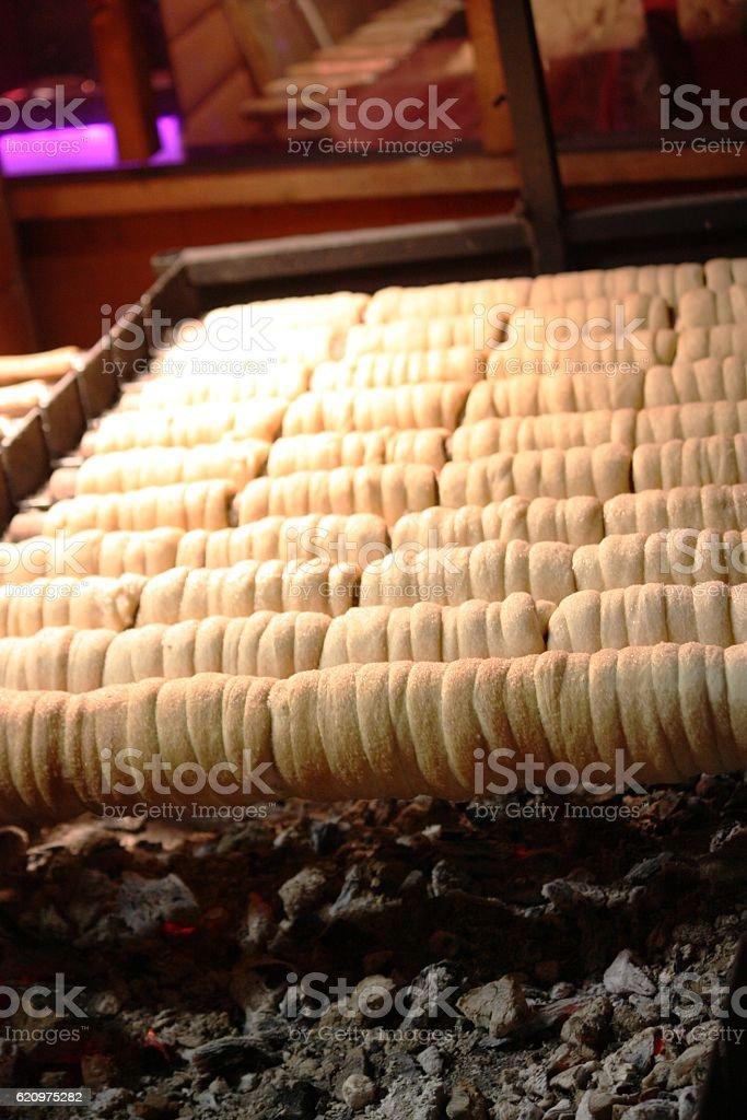 Kürtöskalacs from the charcoal grill stock photo
