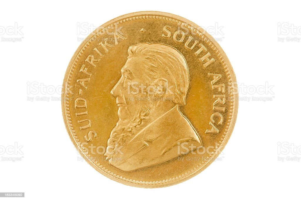 Krugerrand Gold Investment Coin Obverse XXXL on White Background stock photo