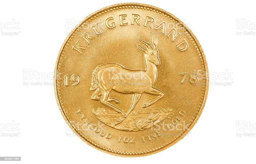 Kruggerand Gold Investment Coin Reverse, XXL, on White Background royalty-free stock photo