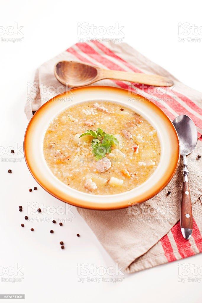 Krupnik polish barley soup stock photo