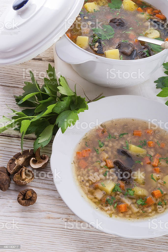 "Krupnik -€"" Polish Pearl Barley Soup royalty-free stock photo"