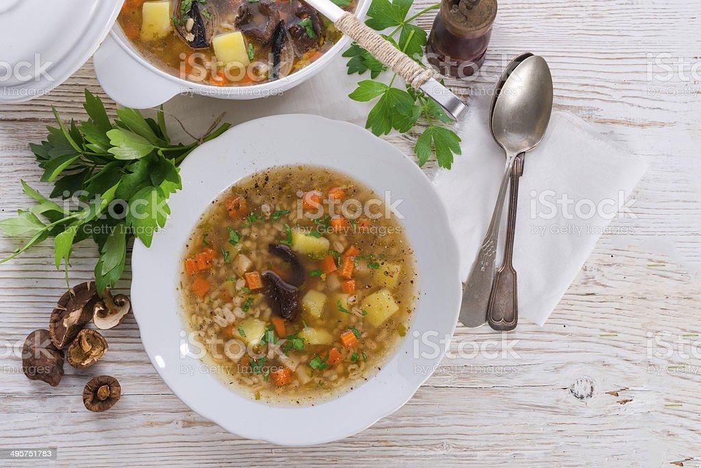 "Krupnik -€"" Polish Pearl Barley Soup stock photo"