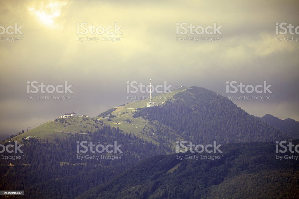Krvavec at clouds stock photo