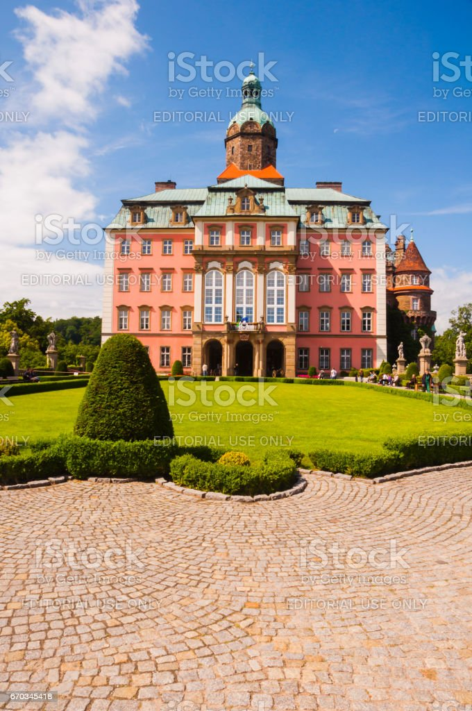 Ksiaz is a castle in Walbrzych in Lower Silesian Voivodeship in Poland. stock photo