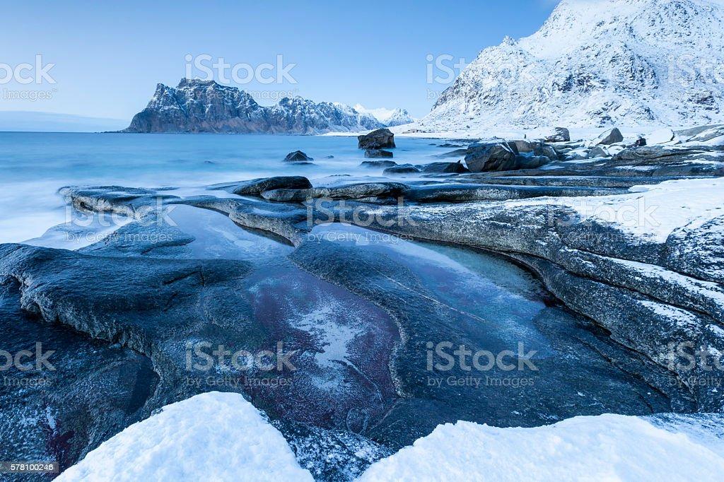 Küstenlandschaft auf den Lofoten, Norwegen stock photo