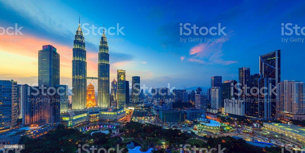 Kuala Lumper skyline at twilight stock photo