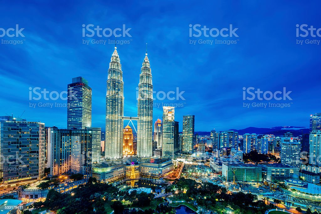 Kuala Lumpur at dusk stock photo