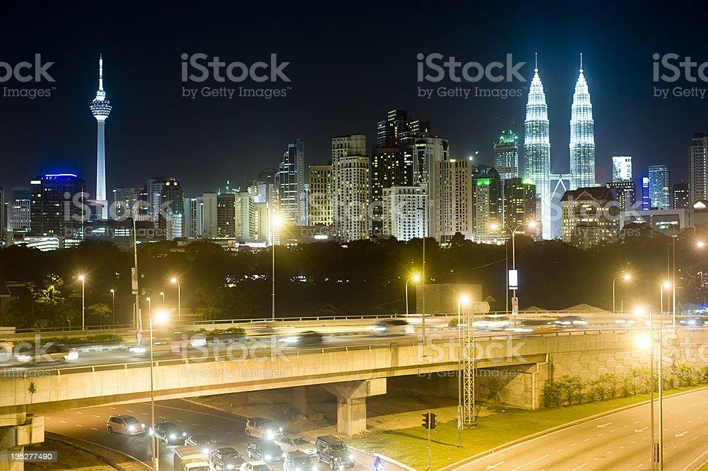 Kuala Lumpur at night royalty-free stock photo