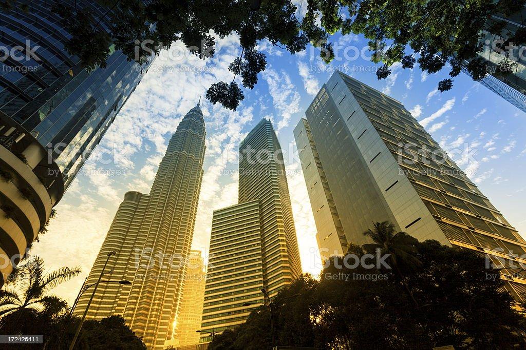 Kuala Lumpur Business District at Sunrise, Malaysia royalty-free stock photo