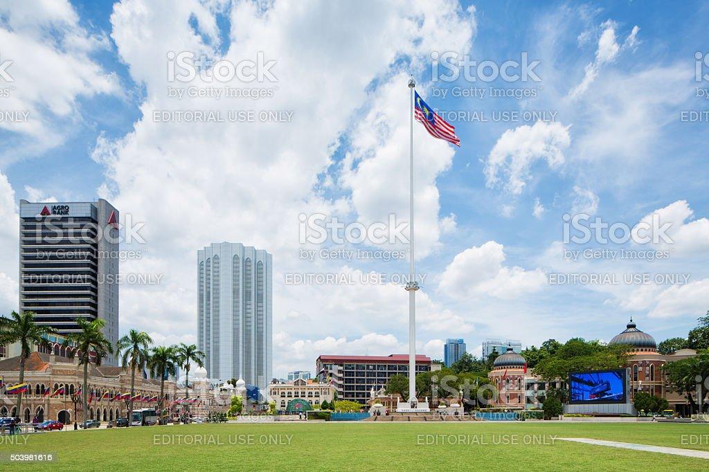 Kuala Lumpur Dataran Merdeka park with Malaysian flag stock photo