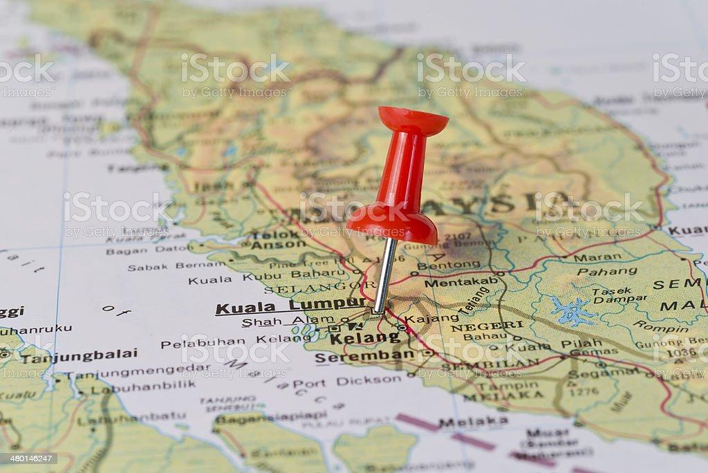 Kuala Lumpur Marked With Red Pushpin on Map stock photo
