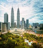Kuala Lumpur skyline daytime featuring Petronas towers