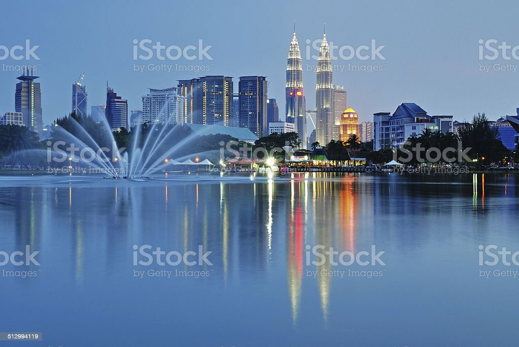 Kuala Lumpur skyline night scenery stock photo