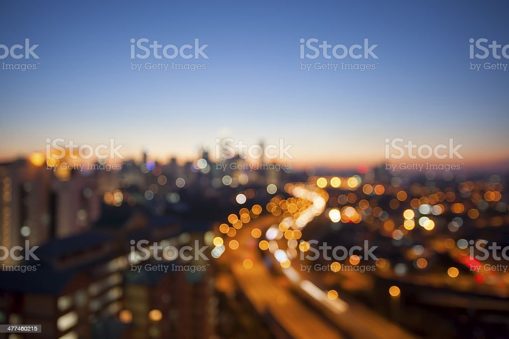 Kuala Lumpur Skyline with Highway Blurred Background stock photo