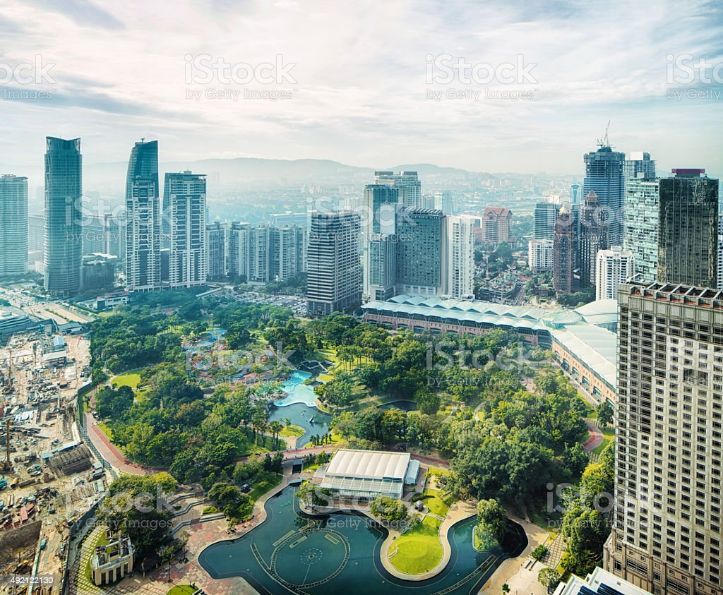 Kuala Lumpur skyline with KL city park aerial stock photo