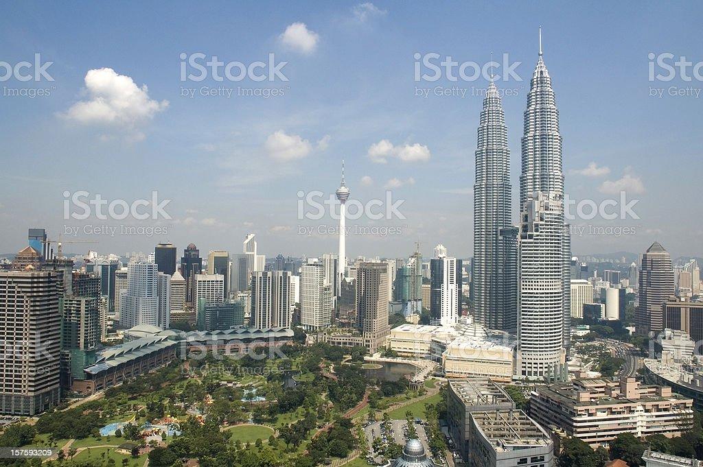 Kuala Lumpur skyline with Petronas Towers in Malaysia stock photo