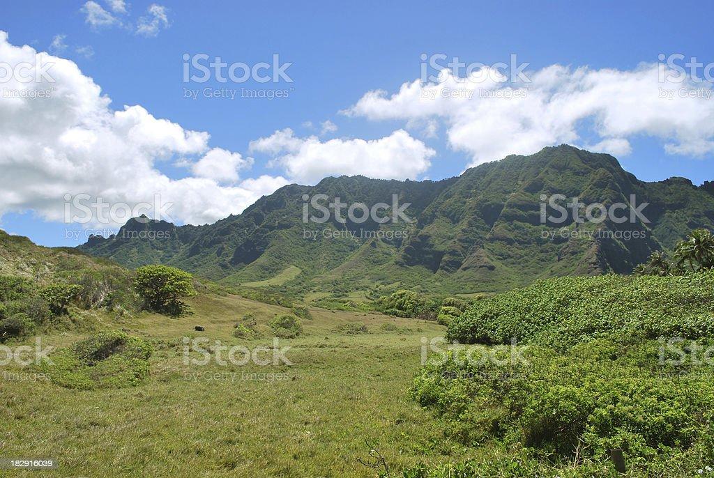 Kualoa Valley, Koolau Mountain Range in Hawaii royalty-free stock photo