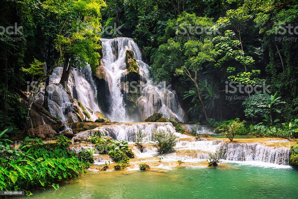 Kuang Si waterfall in Laos, Luang Prabang stock photo