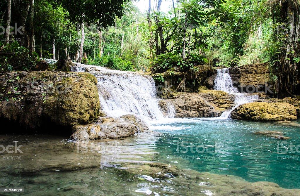 Kuang Si Waterfall in Luang Prabang, Laos stock photo