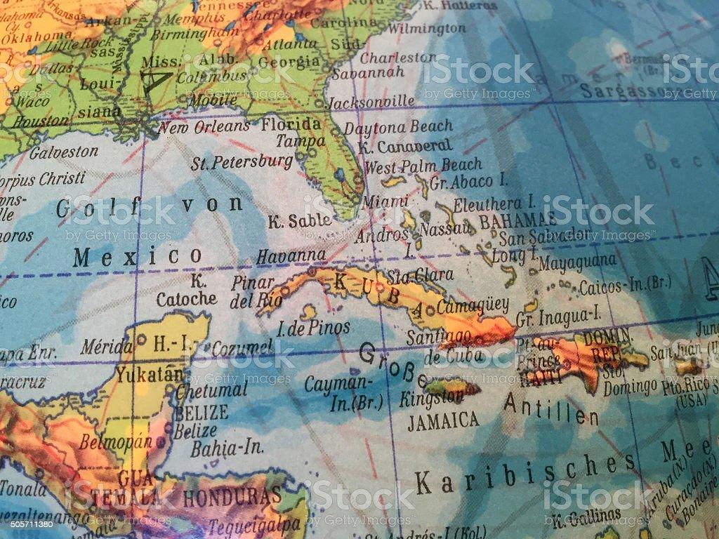 Kuba, Karibik Landkarte - Alter Globus / Weltkarte stock photo