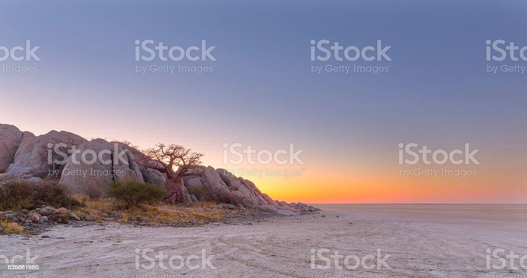 Kubu Island after sunset stock photo
