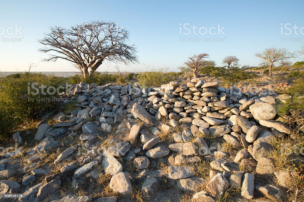 Kubu Island stone age ruins, Botswana stock photo