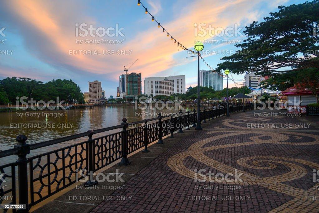 Kuching city waterfront at sunset stock photo