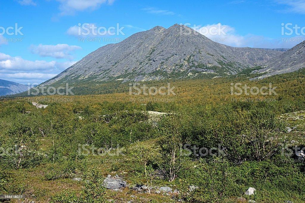 Kuelporr Mount in Khibiny Mountains, Kola Peninsula, Russia stock photo