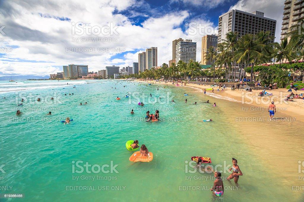 Kuhio Beach boogie boarding stock photo