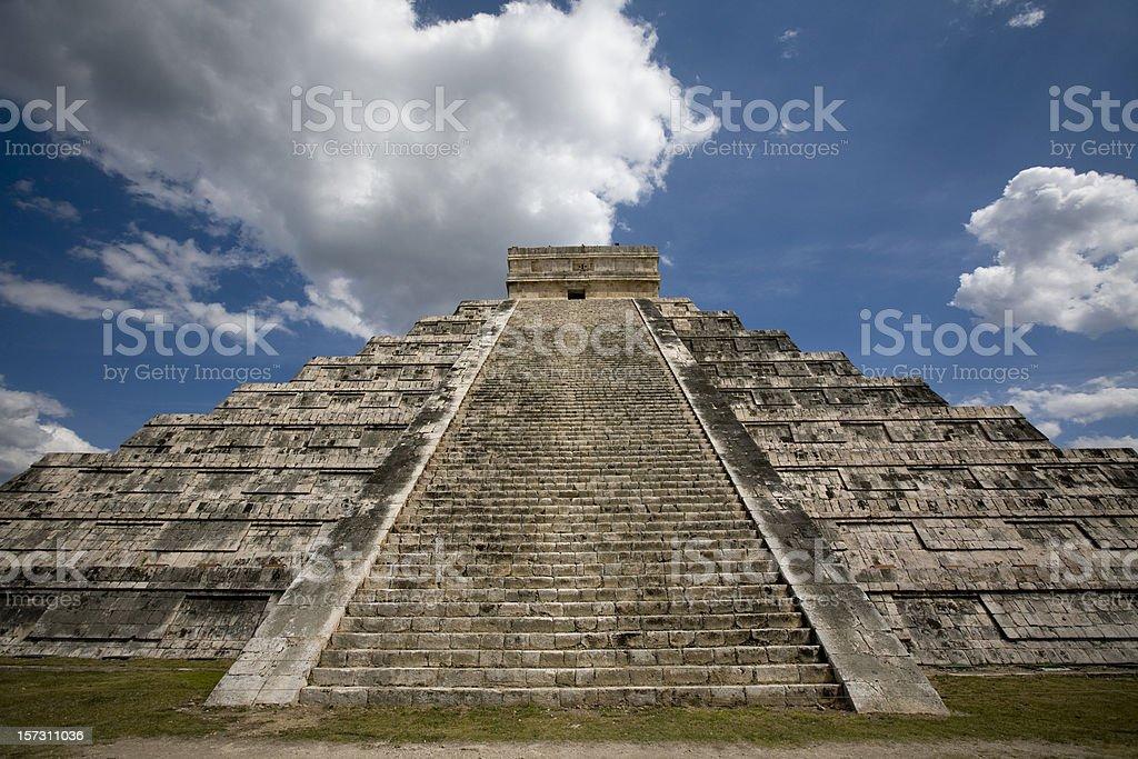 Kukulkan Temple in Chichen Itza Mexico stock photo