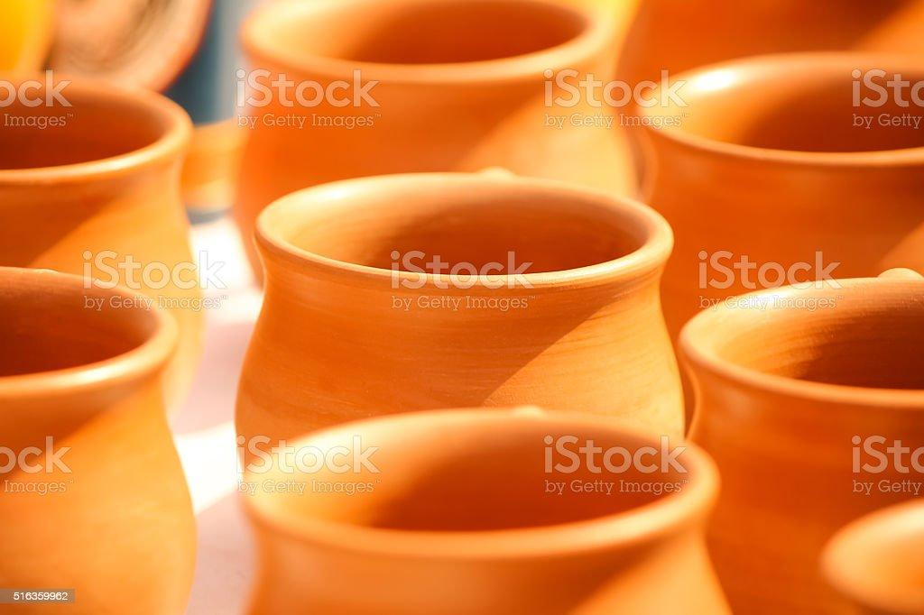 Kulhar - Brown Earthen cups in a row stock photo