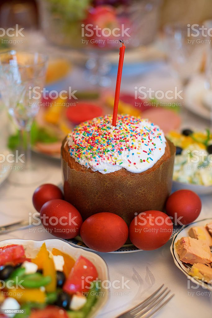 Kulich - kind of traditional Easter bread stock photo