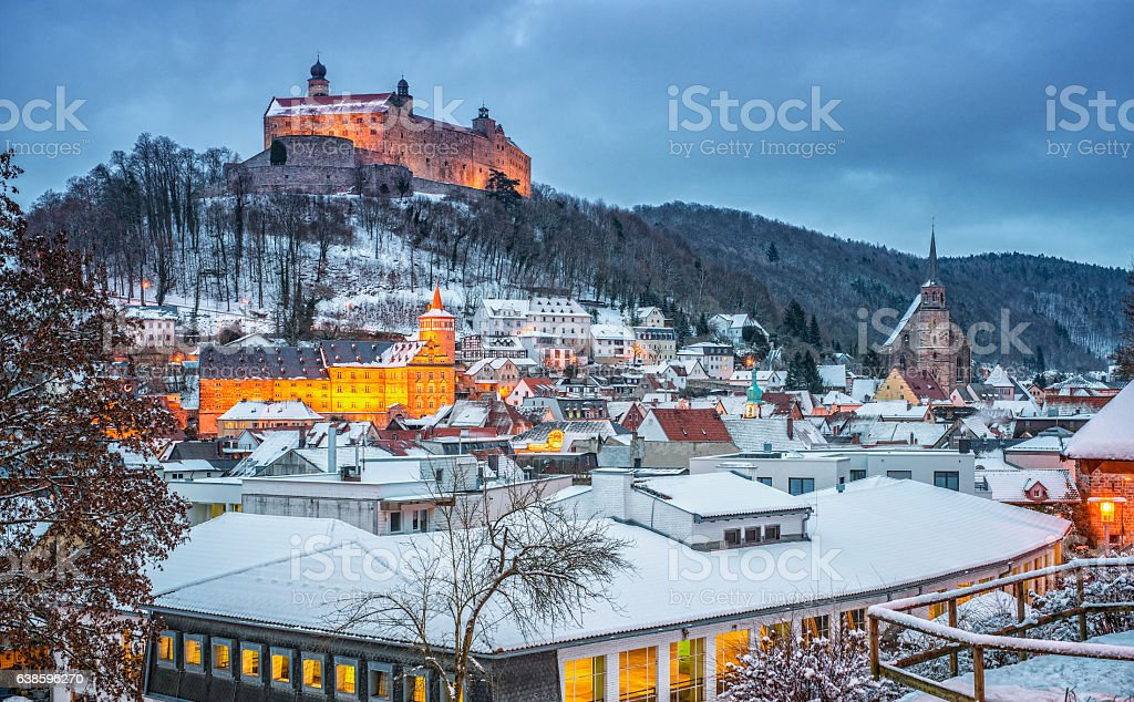 Kulmbach in Winter at dusk stock photo