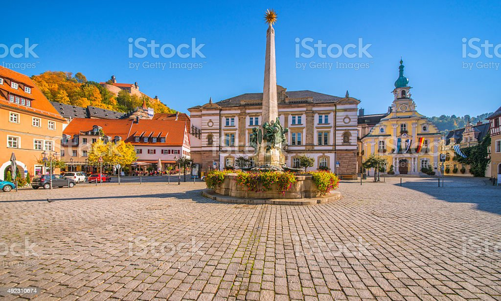 Kulmbach Market Square with fountain and Town Hall stock photo