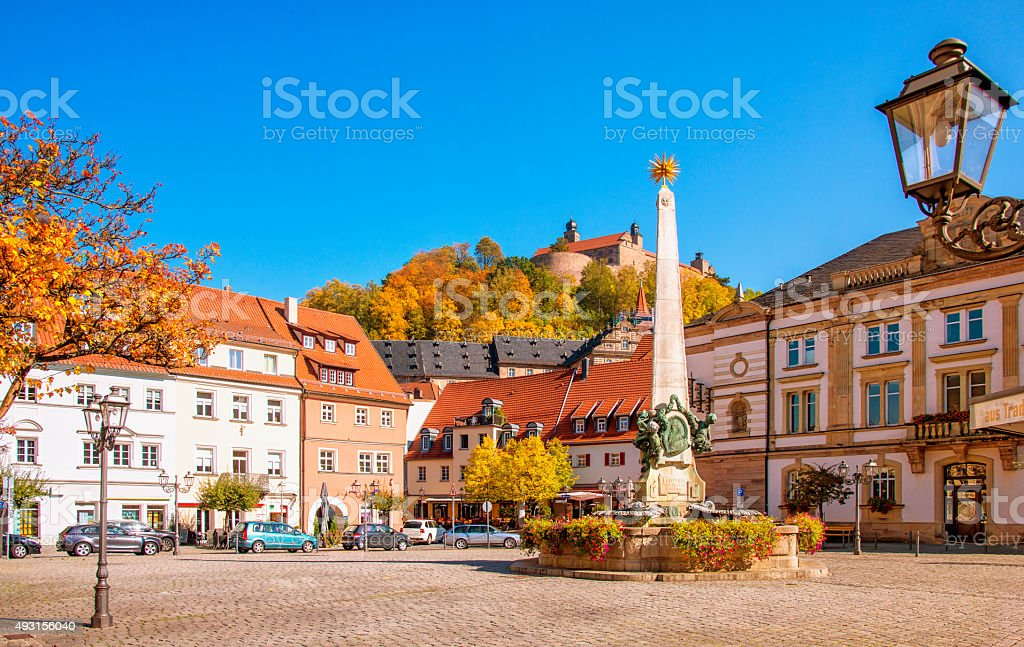 Kulmbach Town Square in Autumn stock photo