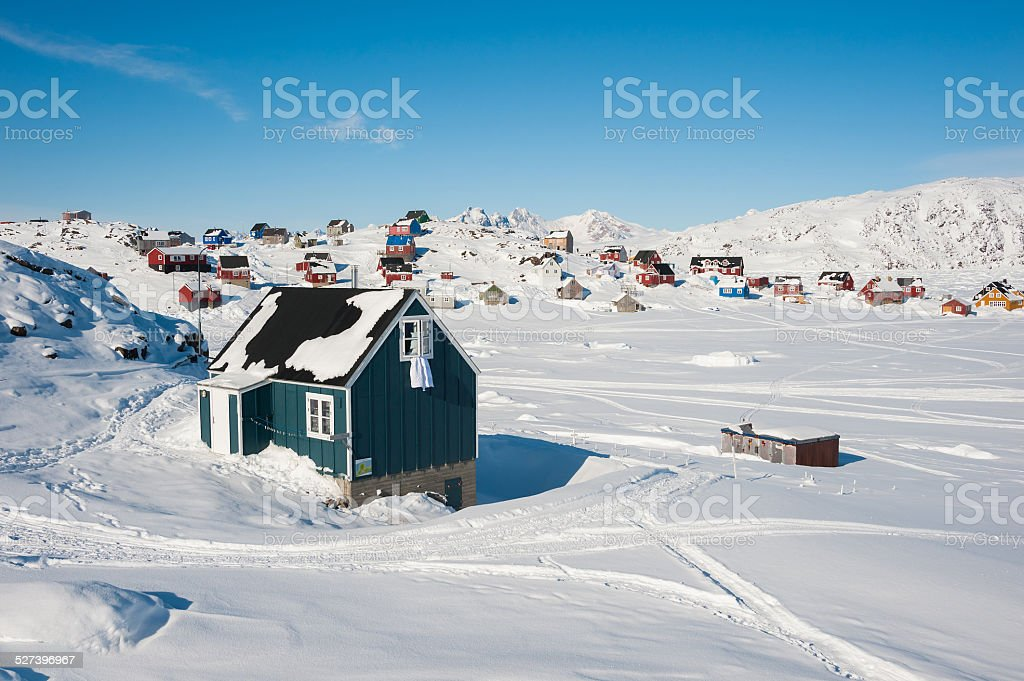 Kulusuk, small town in East Greenland stock photo