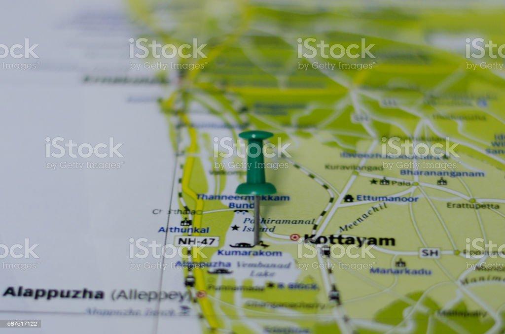 Kumarakom map stock photo