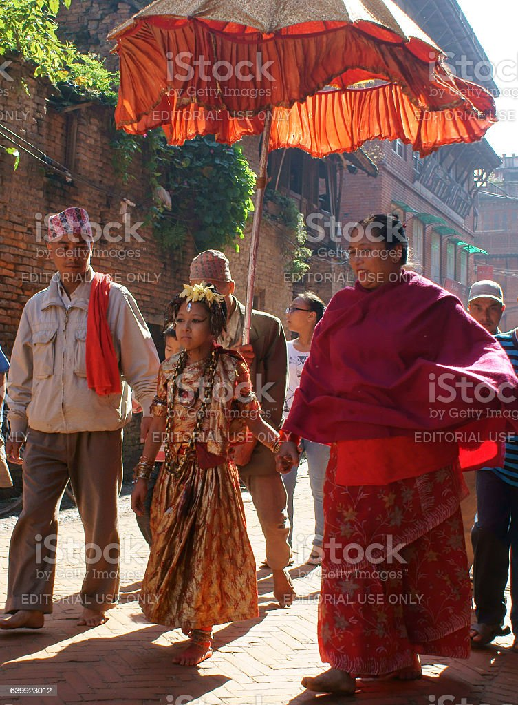 Kumari goddess taking a walk through town stock photo
