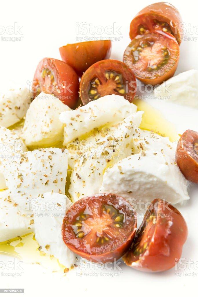 Kumato Tomatoes and Fresh Buffala Mozzarella Salad stock photo