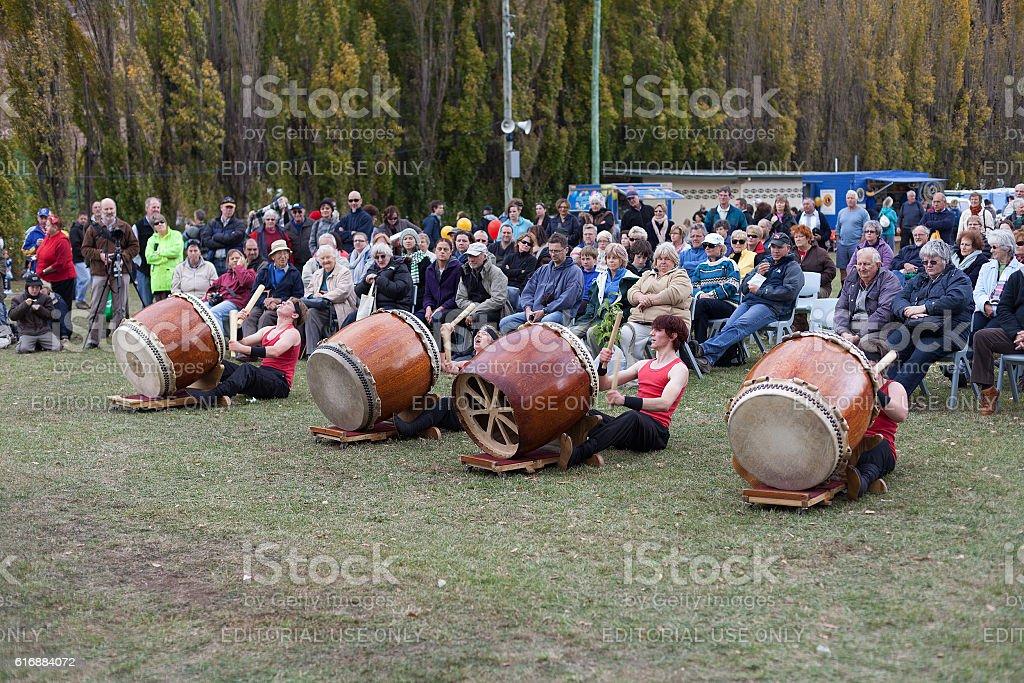 Kumi-daiko drumming performance stock photo