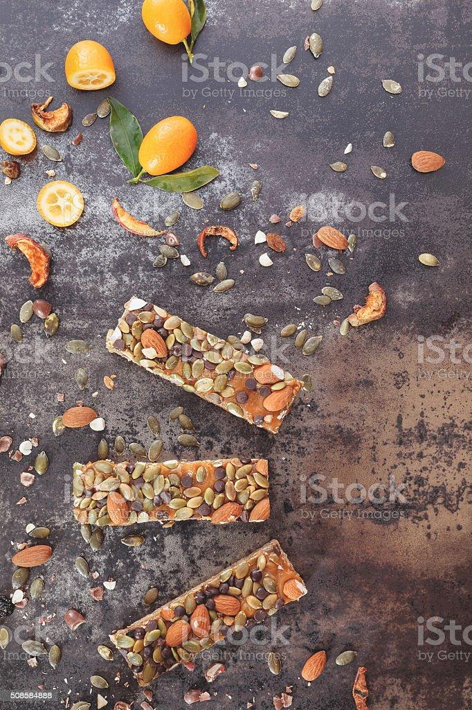 Kumquat Granola Bars stock photo