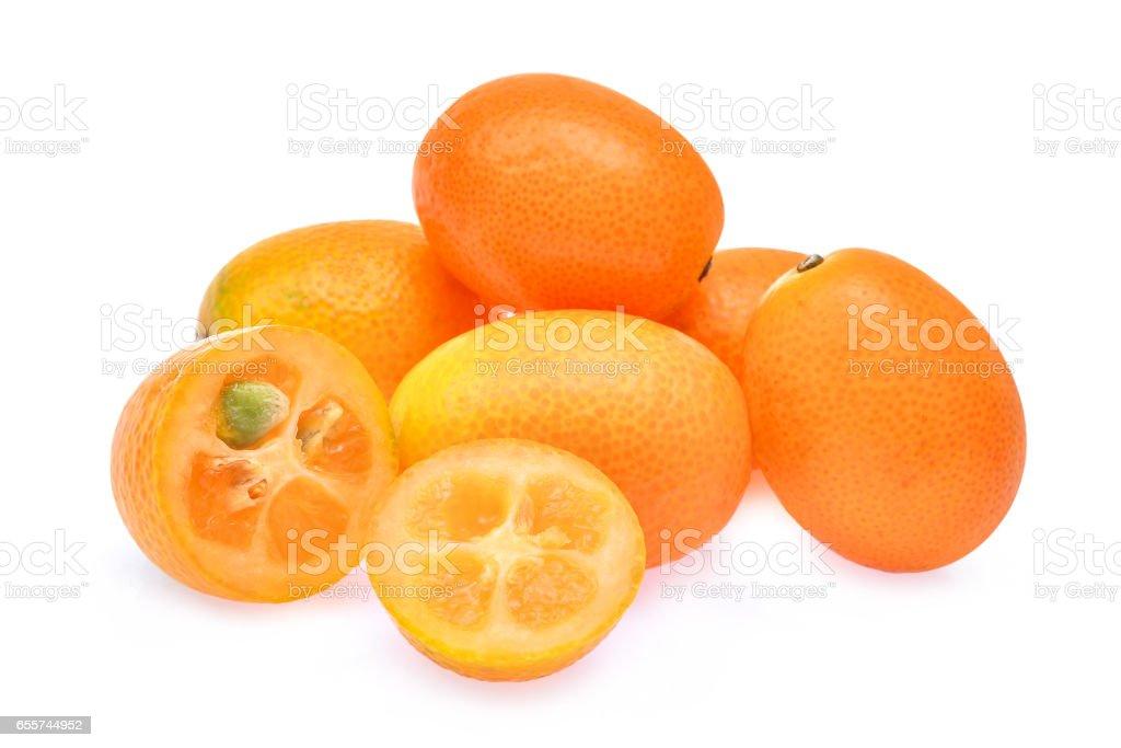kumquat,cumquat fruit isolated on white background stock photo