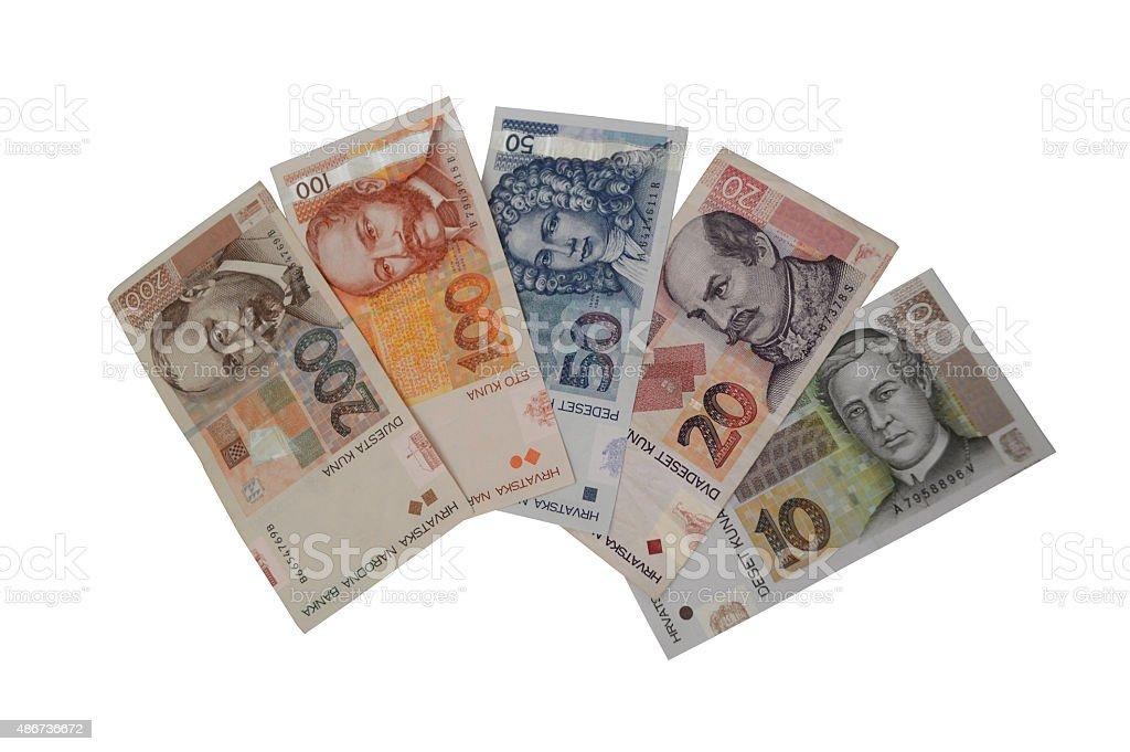 Billete de banco de moneda mony Kuna croata foto de stock libre de derechos