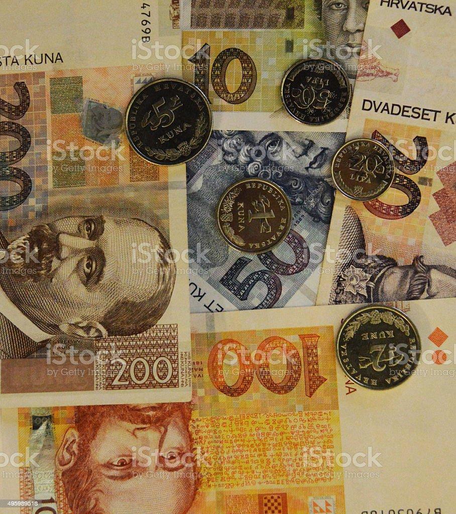 kuna croata de los billetes y monedas de la moneda de fondo foto de stock libre de derechos