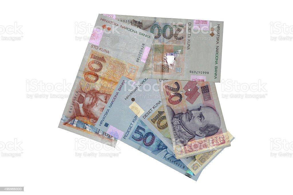 Tribu kuna croata moneda billetes de flecha foto de stock libre de derechos