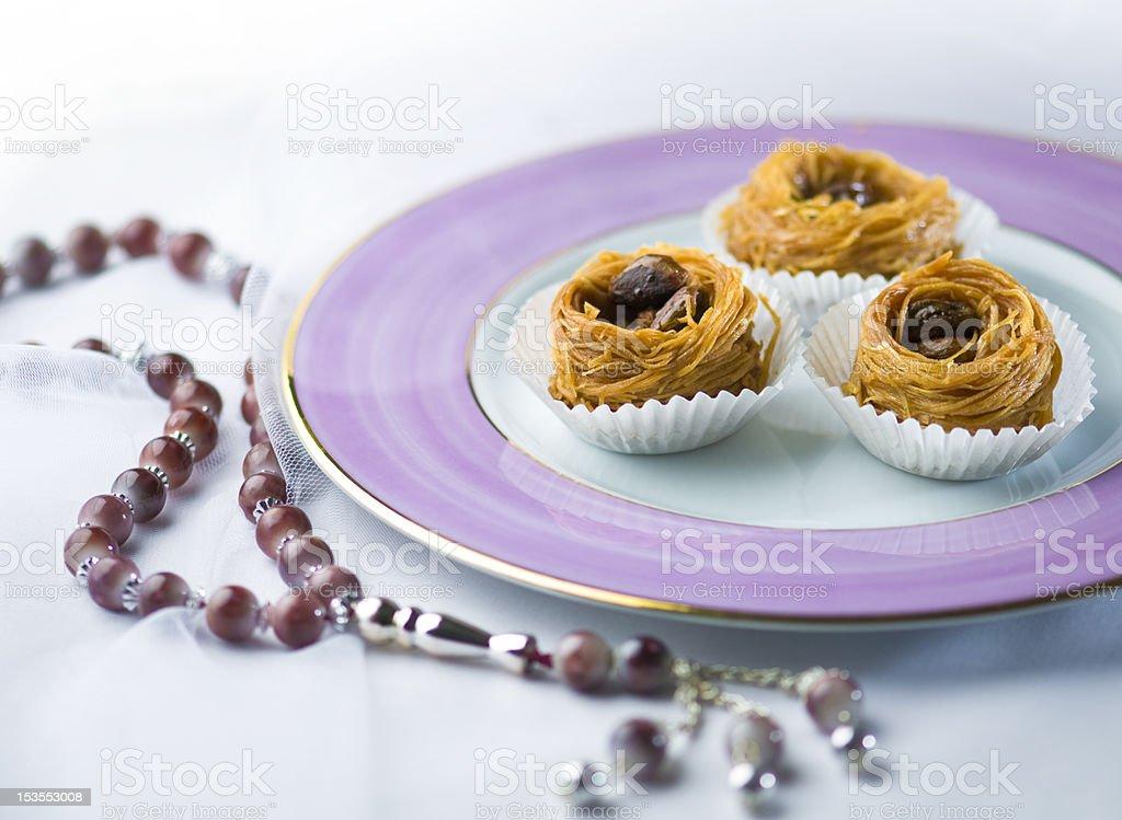 Kunafa and rosary royalty-free stock photo