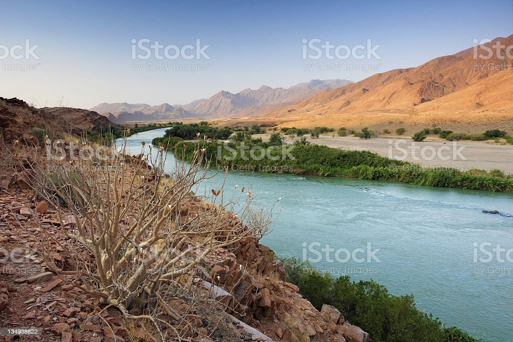 Kunene river at the Namibia Angola border stock photo