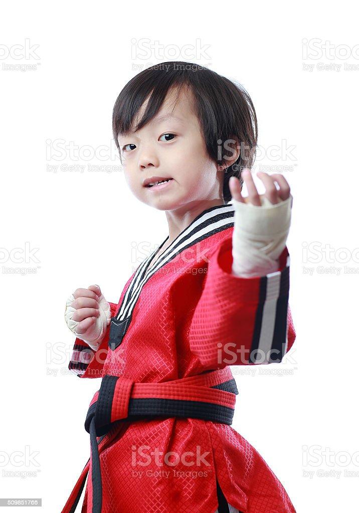 Kung Fu child stock photo