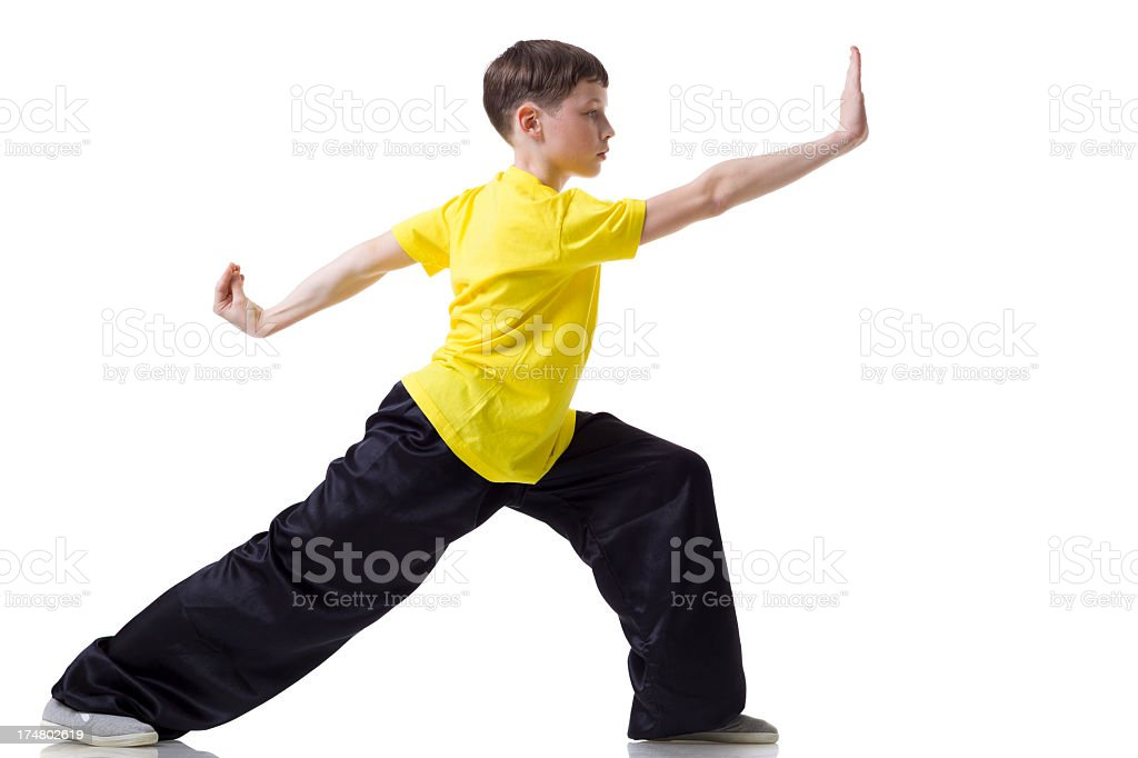 Kung Fu fighting position stock photo